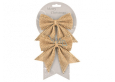 Jute bow with shiny decoration 13 cm, 2 pieces