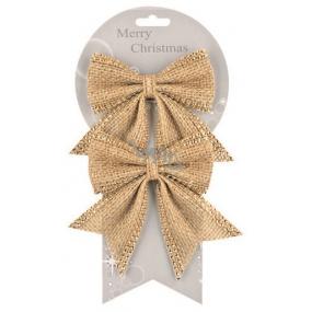 Jute bows with shiny decoration 13 cm, 2 pcs 2001 5104
