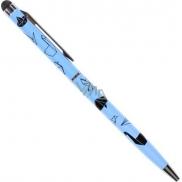 Ballpoint pen with Origami stylus on blue