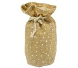 Jute bag with white stars 18 x 24 cm