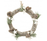 White wicker wreath with glitter 20 cm
