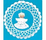 Crochet wreath with angel 15 cm