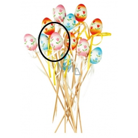 Plastic egg with tulips pink recess 4 cm + skewers