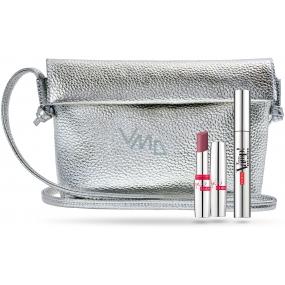 Pupa Vamp! Definition mascara 001 Extra Black 9 ml + Miss Pupa ultra glossy lipstick with clear effect 206 Infinite Mauve 2.4 ml + handbag, cosmetic set
