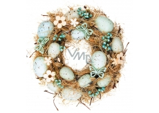 Wicker Easter wreath, turquoise ornaments 24 cm