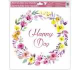 Room Decor Window foil without glue wreath Happy Day 33 x 30 cm