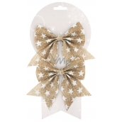 Jute bow with stars 14 cm, 2 pieces