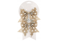 Jute bow 14 cm, 2 pcs with stars