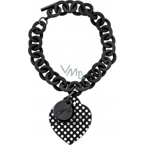Ops! Objects Pois Bracelet náramek OPSBR-30 černá s bílými puntíky