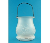 Glass lantern with LED light 9.5 cm