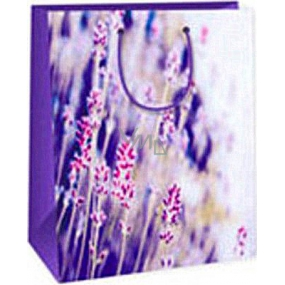Ditipo Gift paper bag 26.4 x 13.7 x 32.4 cm violet white with flowers AB