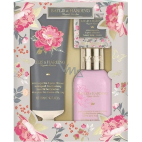 Baylis & Harding Pink magnolia and pear blossom shower gel 100 ml + body lotion 125 ml + toilet soap 40 g, cosmetic set