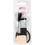 Titania Powder Brush + Lipstick Brush + Eyeshadow Brush + Eyeshadow Applicator + Mirror, Cosmetic Set