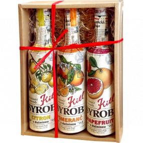 Kitl Syrob Bio Grapefruit with pulp syrup 500 ml + Lemon with pulp syrup 500 ml + Orange with pulp syrup 500 ml, gift box