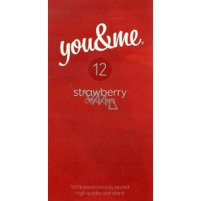 You & Me Strawberry transparent lubricated condom with the scent of strawberries 12 pieces