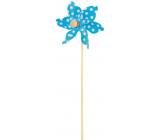 Pinwheel with large polka dots blue 9 cm + skewers 1 piece