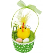 Chick with eggs in green basket 12 cm