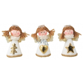 Angel in white knitted dress on standing 8 cm 1 piece