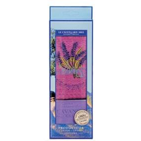 Le Chatelard Lavender toilet soap 100 g + purple cotton towel 40 x 60 cm cosmetic set