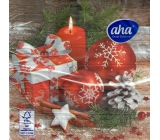 Aha Paper napkins 3 ply 33 x 33 cm 20 pieces Christmas Red decorations, gift and candle