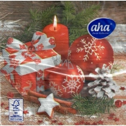 PAPER.RUB.AHA Christmas 3vr.20pcs 160919 Red Decorations, Gift and Candle 0512