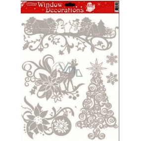 Room Decor Window film without adhesive with silver glitter tree 42 x 30 cm