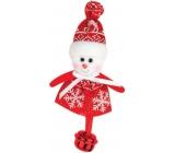 Sněhulák červenobílý s rolničkou k zavěšení 10 cm