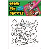 Skládací omalovánky vánoční motiv Medvěd na lyžích 25 dílků 18 x 12 cm