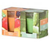 Emocio Tasty Fruit & Aloe Vera scented candle glass 52 x 65 mm 2 pieces in a box
