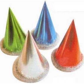 Glossy carnival hat with edging - various colors 1 piece