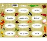 Arch Samolepky na kořenky Juta barvotisk Bedrník - bylinky používané v kuchyni 0520