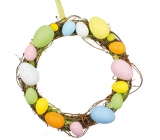 Wicker wreath with colored plastic eggs 25 cm