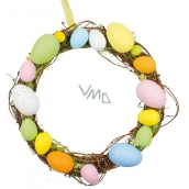 Wicker wreath with colored plastic eggs 25 cm