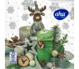Aha Christmas paper napkins 3 ply 33 x 33 cm 20 pieces Reindeer with candles
