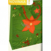 Nekupto Gift paper bag 23 x 18 x 10 cm Christmas green with poinsettia WBM 1941 50