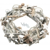 Advent wreath gray wooden from twigs with flasks 30 cm 1833 8265