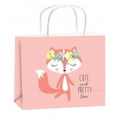 Gift bag year-round for children M pink fox 23x18x10cm