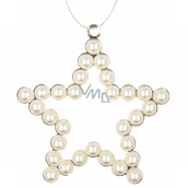 Metal hanging star with pearls 9 cm