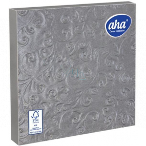 Aha Paper napkins 3 ply 33 x 33 cm 15 pieces Embossed silver