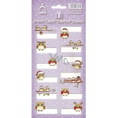 Arch Christmas labels stickers Owls purple sheet 706 12 labels