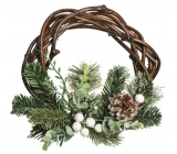 Wicker wreath with twigs and cone, diameter 25 cm