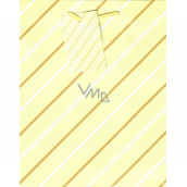 Ditipo Gift paper bag medium yellow white-brown lines 18 x 23 x 10 cm