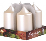 Emocio Pearl cream candle cylinder 40 x 75 mm 4 pieces