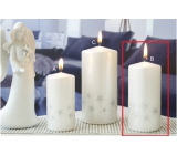 Lima Starlight candle white / silver cylinder 60 x 120 mm 1 piece