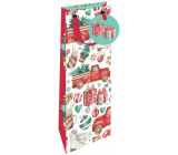 Nekupto Gift paper bag for a luxury bottle 13 x 33 cm Christmas car with a tree WILH 1984