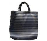 Shopping bag black striped 41.5 x 40 x 6 cm 9949