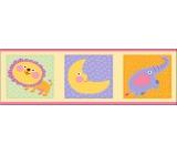 Wall sticker listel elephant and lion 48 x 15.5 cm 3 pieces