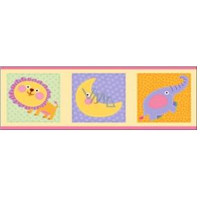 Room Decor Wall sticker listel elephant and lion 48 x 15.5 cm 3 pieces