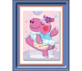 Room Decor Sticker 3D image of a hippo ballerina 32 x 25 cm