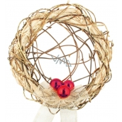 Wreath with red ornaments with interwoven center 30 cm